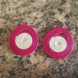 Pink and cream earrings